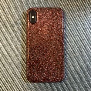 Kate Spade Pink Glitter iPhone XS Case Sheer